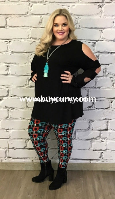 Ocs-R Coco Kelly Midnight Cut Out Sleeve Top Open Shoulder