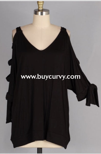 Ocs-S {After Midnight} Black Top With Cut-Out Sleeve Detail Open Shoulder