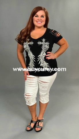 7370e92f4e004 Ocs-S  Have Courage  Black V-Neck With Studded Wings (Runs. Sale