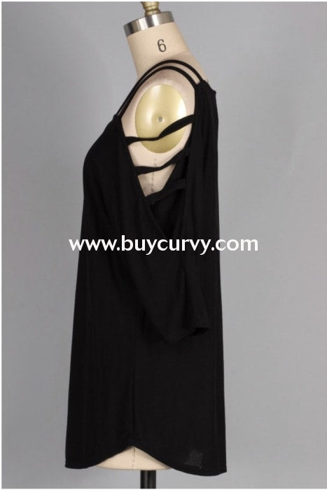 Ocs-S {Playful Personality} Black Top With Sleeve Detail Open Shoulder