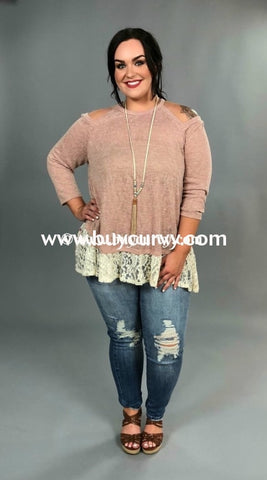 Ocs-T Where Is The Love Mauve Knit With Lace Sale! Open Shoulder