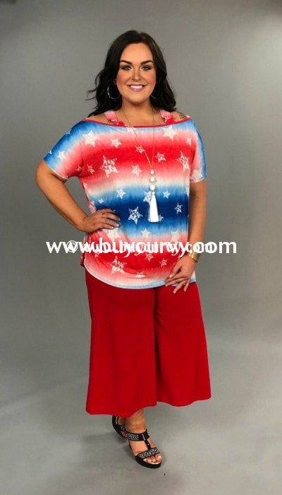 Ocs-U {Sale!!} Short-Sleeved Patriotic Red White & Blue With Stars Open Shoulder