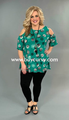 Ocs-W {Green With Envy} Circle Print Cold Shoulder Top Open