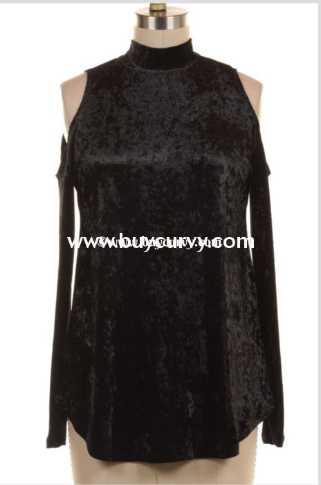 Ocs-W Midnight Crushed Velvet With Open Shoulder Detail Sale!!