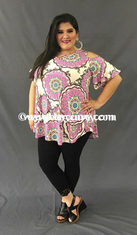 Ocs-W Pink Medallion Print With Corset V-Neck {Sale!!} Open Shoulder