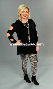 Ocs-W Rayon/spandex Black Tunic With Sleeve-Cut Out Detail Open Shoulder
