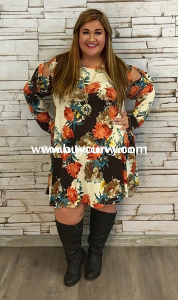 Ocs-Z Brown/rust Floral Print With Tie Detail Sleeves Sale!! Open Shoulder