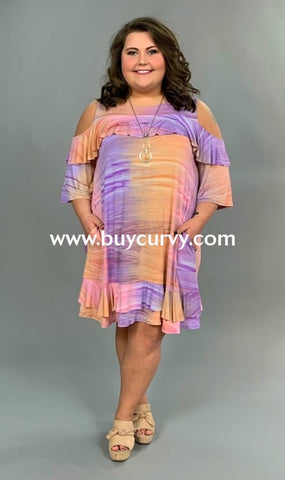 Ocs-Z {Genie In A Bottle} Colorful Open Sleeve Ruffle Dress Shoulder