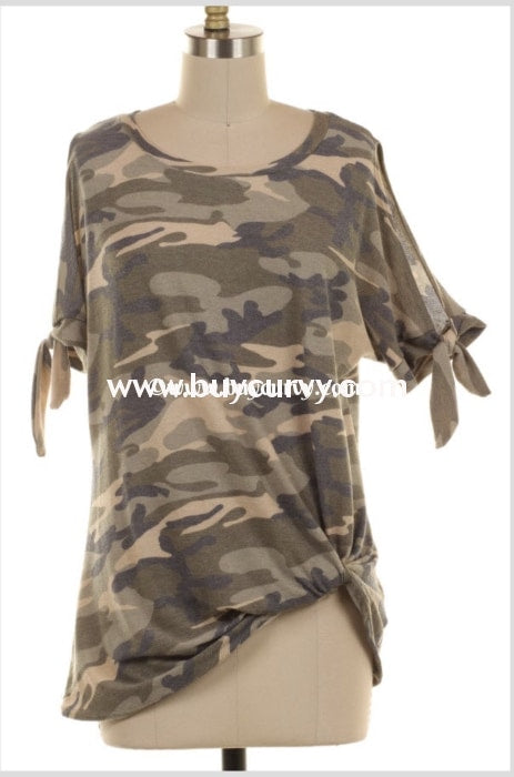 Ocs-Z {I Will Be Home} Camouflage Knit With Knot Hem Sale!! Open Shoulder