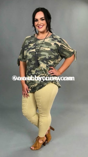 8f707444003a OS-Z {I Will Be Home} Camouflage Knit with Knot Hem Top – Curvy ...