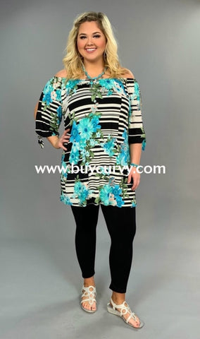 Ocs-Z {Random Thoughts} Blue Floral Contrast Tunic Open Shoulder