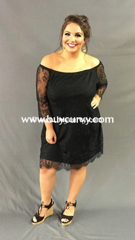 Off- Black Lace Off-Shoulder Overlay Dress With Lining Off Shoulder
