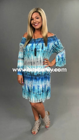 Off-Blue/grey Off-Shoulder Dress Tie-Dye With Bell Sleeve Off Shoulder