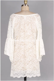 Off-C {For The Best} Ivory Lace {Stretchy!} Tunic Bell Sleeves Off Shoulder