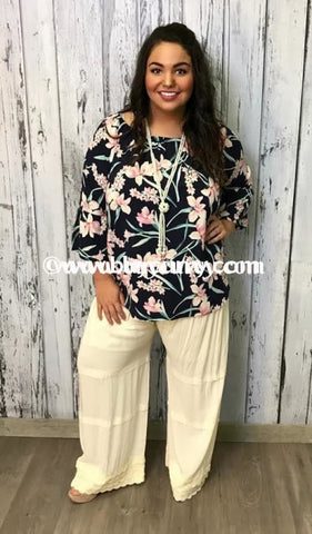Off-Expressa Navy/pink Floral Off-Shoulder Sale!! Off Shoulder