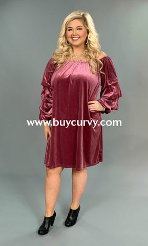 Off-I {Opera House} Mauve Velvet Dress With Ruched Sleeves Off Shoulder