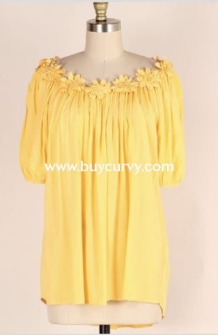 Off-O {Pretty Petals} Yellow Top With Crochet Daisy Neckline Off Shoulder