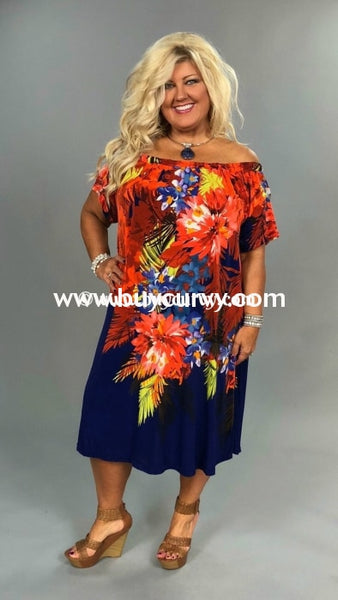 Off- Orange/royal Blue Off Shoulder Floral Print Sale!!