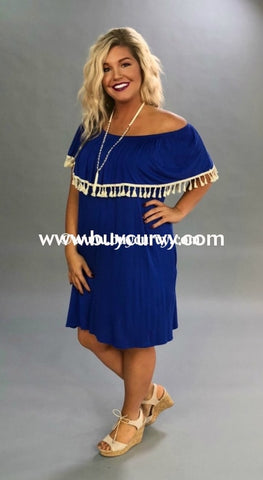 Off-Royal Blue Off Shoulder With Ivory Tassel Detail Sale!!