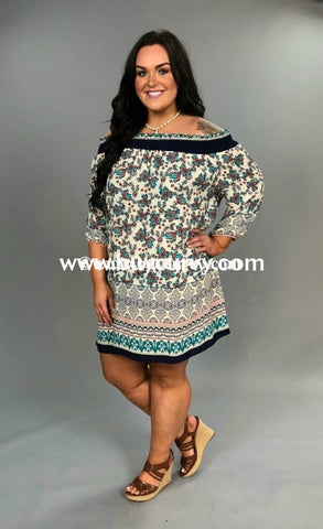Off- Off-Shoulder Floral Print With Elastic Navy Band Sale!! Off Shoulder