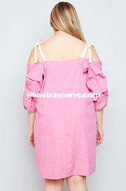 Off-Strawberry Pink With Ruched Sleeves Sale!! Off Shoulder