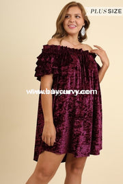 Off- Umgee Burgundy Crushed Velvet Off-Shoulder Sale!! Off Shoulder