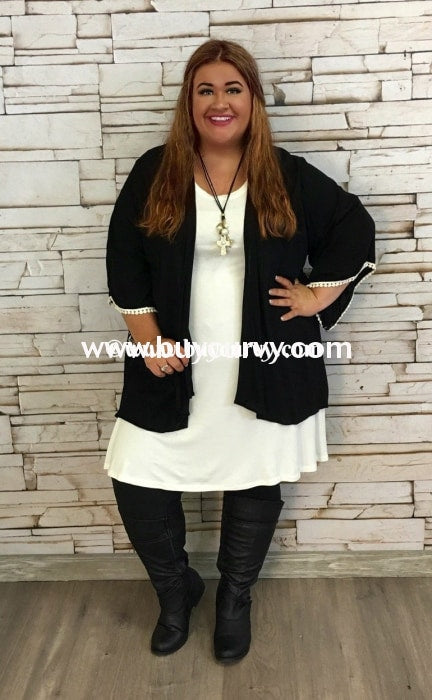 Ot-A Black Lightweight Card With Ivory Lace Detail Sale!! Outerwear
