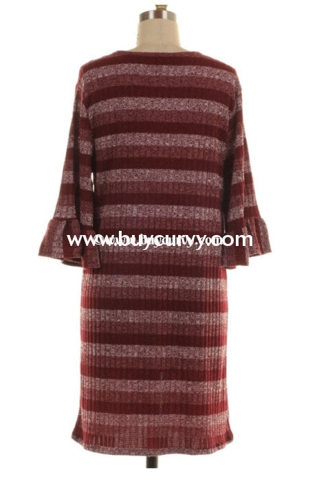 Ot-A Burgundy/mauve Dream Big Striped Knit Ruffle Cardigan Outerwear