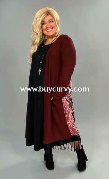 Ot-A {Charming Choice} Wine Damask Cardigan With Fringed Detail Outerwear