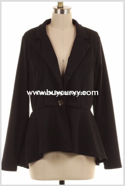 Ot-A {Cosmo City} Black Blazer Jacket With Button Front Outerwear