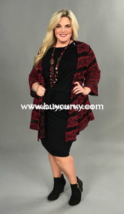 Ot-A For You Red/black Floral Cardigan W/ Mesh Detail Outerwear
