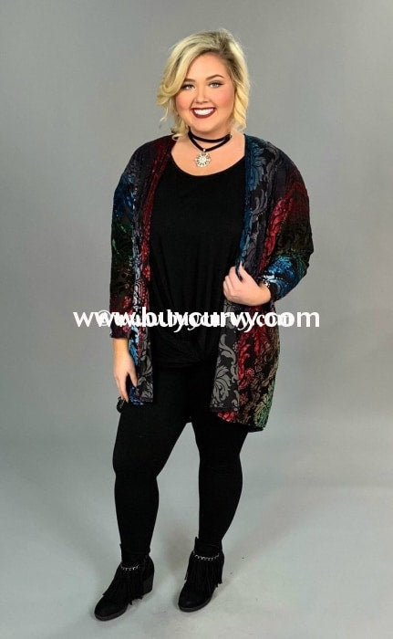 Ot-A {Heartbreak Hotel} Black Cardigan With Velvet Design Outerwear