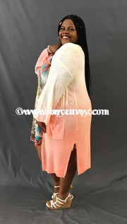 Ot-A Ivory/coral Knit Cardigan W/ Fringe Detail Outerwear