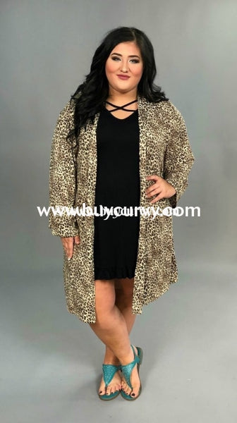 Ot-A Long Leopard Cardigan With Pockets Outerwear