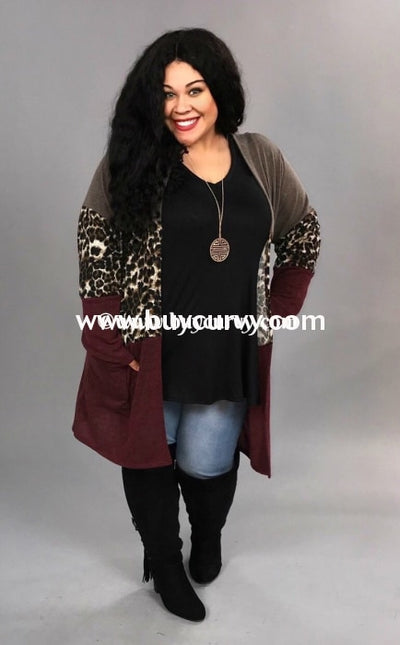 Ot-A {Metropolis Mood} Wine Leopard Cardigan With Hood Extended Plus Outerwear