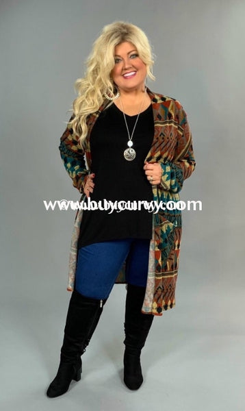 Ot-A {Off The Charts} Long Knit Cardi With Aztec Print Extended Plus Sale!! Outerwear