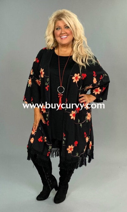 Ot-A Overcome The Day Black Floral Long Cardigan W/ Fringe Outerwear