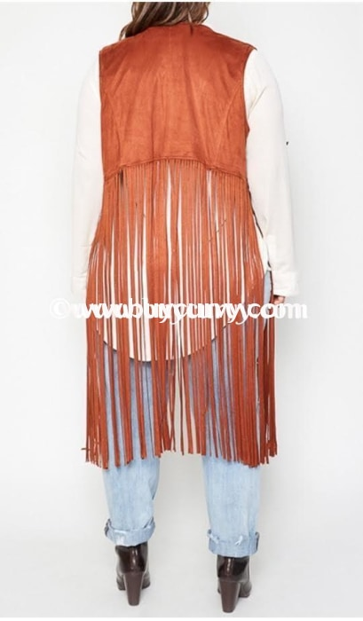 Ot-A Rust Faux Suede Studded With Long Fringe Detail Sale!! Outerwear