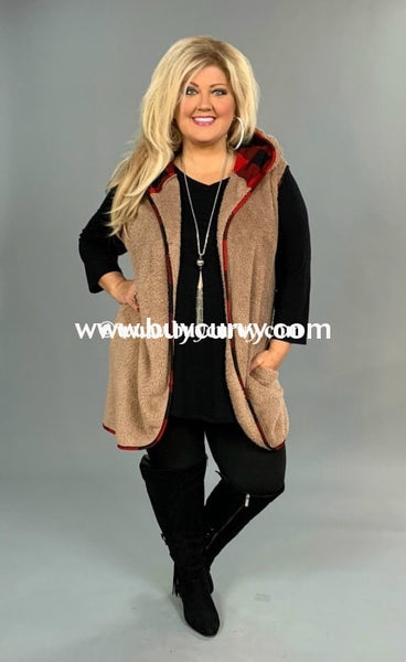 Ot-A {Signature Move} Sale!! Mocha Faux Fur With Red Trim Outerwear