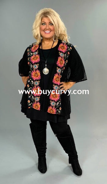 Ot-A Umgee Black Sheer Cardigan With Floral Embroidery Outerwear
