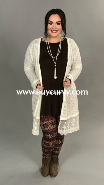 Ot-A Umgee Ivory Waffle Knit Long Cardigan Lace Trim Outerwear