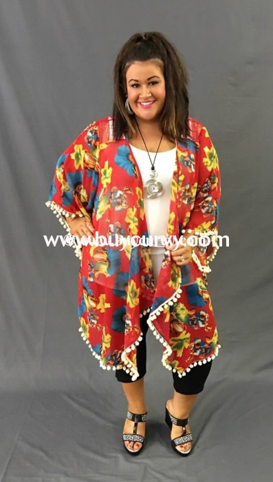 Ot-A Umgee Red Floral Cardigan With Pom Detail Hem Outerwear