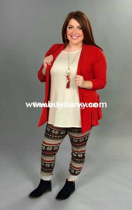 Ot-A Vivian Red Knit Cardi With Ruffle Detail Sale!! Outerwear