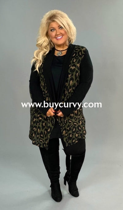 Ot-B {Dream Big} Black Knit Cardigan With Olive Cheetah Print Outerwear