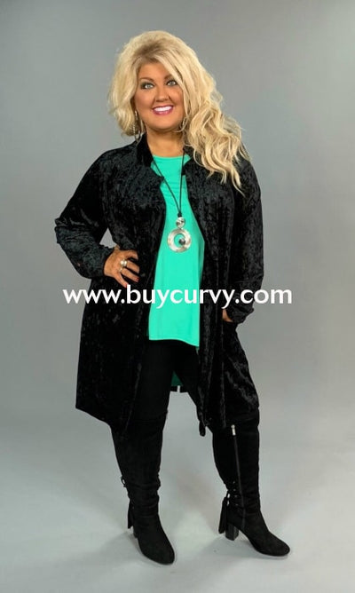 Ot-B {Great Opportunity} Long Black Velvet Cardigan Outerwear