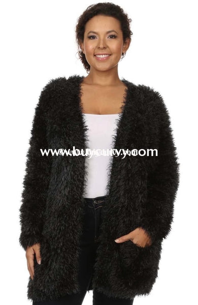 Ot-B {Gussied Up} Black Fuzzy Cardi With Pockets Sale!! Outerwear