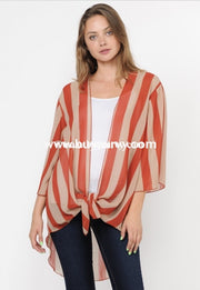 Ot-B {Keep It Real} Rust Striped Cardigan With Front Tie Outerwear