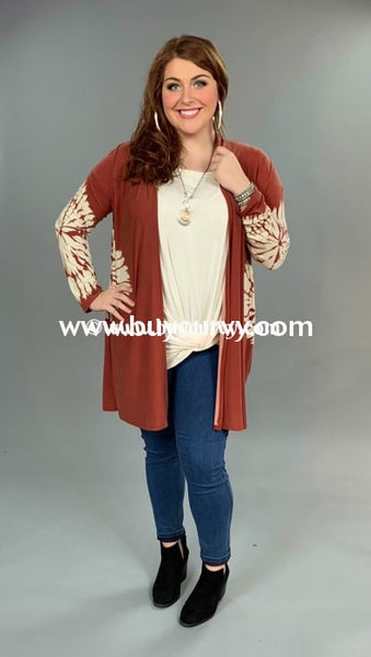 Ot-B {On The Warpath} Rust Cardigan With Tie-Dye Detail Outerwear