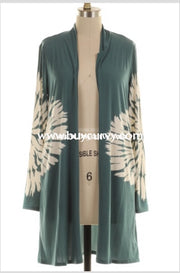 Ot-B {On The Warpath} Teal Cardigan With Tie Dye Detail Outerwear