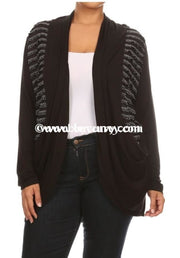Ot-B Sale! Minx Black With Contrast Stripes & Pockets Outerwear